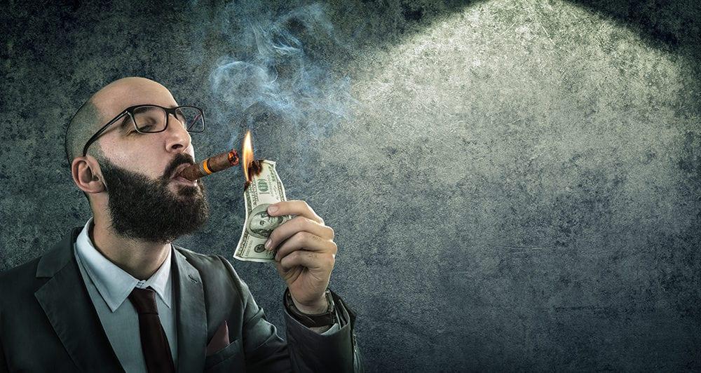 money burning - businessman