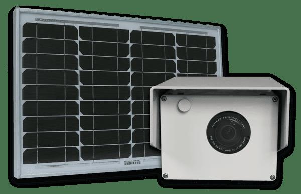 a photoSentinel Mini next to a solar panel