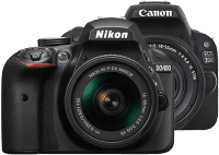 A Nikon and Canon camera next to each other