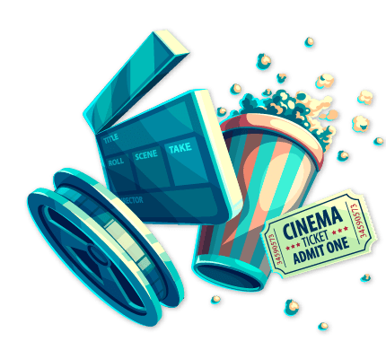 A cartoon picture of popcorn and a movie ticket