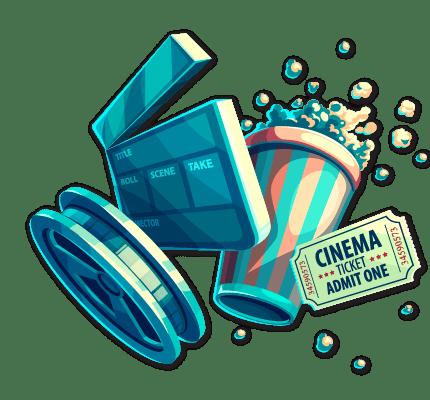 Cinema icons: Camera reel, clapper board, popcorn, movie ticket
