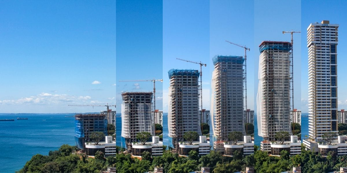 Skyscraper construction time lapse in six slices