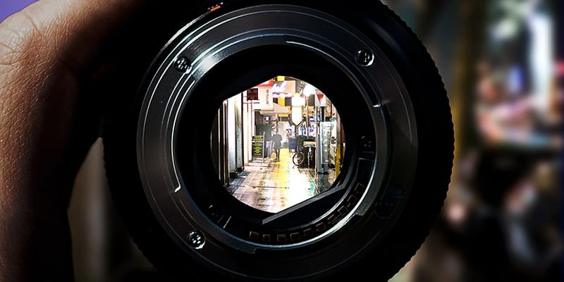 Streetscape through camera lens