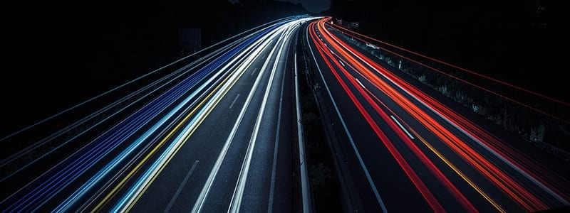 Long Exposure Light Trails Down a High Way