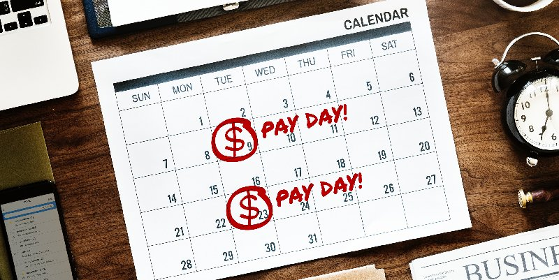 A calender showing which days are pay day