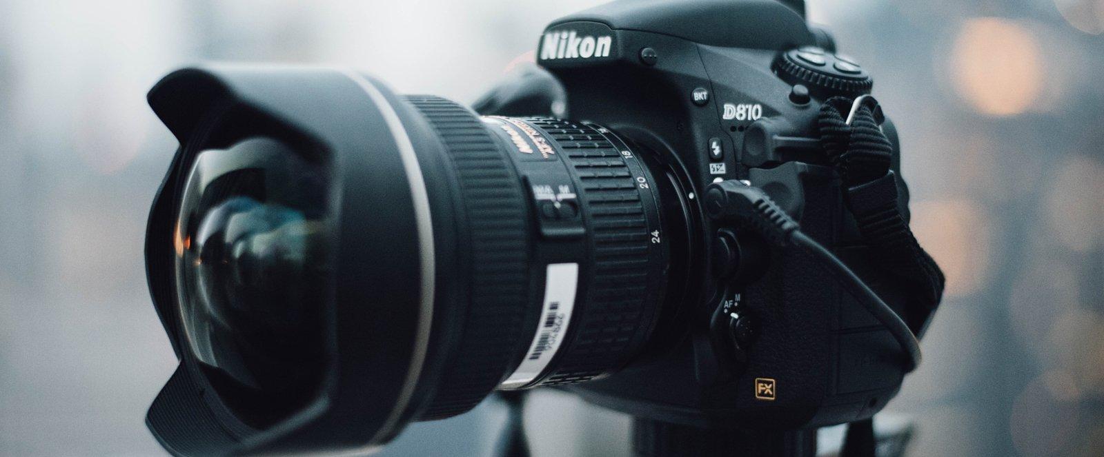 A close-up of a Nikon camera